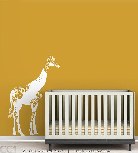 Giraffe Nursery Wall Decal Baby Floral Giraffe by LeoLittleLion, $55.00