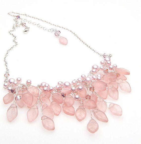 Pink Bridal Necklace Bib Necklace Vintage by CherylParrottJewelry, $169.95 #Wedding Jewelry
