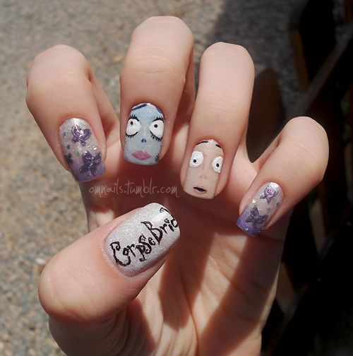 Corpse Bride   (facebook) (+nails)  Happy (late) Halloween!!! I know a part of the title is missing, but I always try and I never get it to fit on the nail haha :) I hope you like it, xx