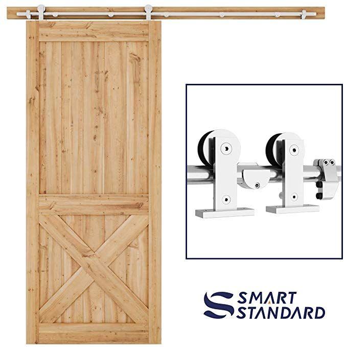 Amazon Com Smartstandard 6 6ft Top Mount Heavy Duty Sliding Barn Door Hardware Kit Single Rail Stainless Stee Barn Door Hardware Barn Doors Sliding Barn Door