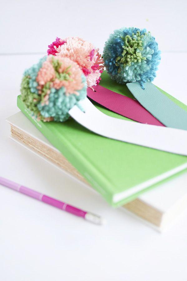 DIY: leather pom pom bookmarks