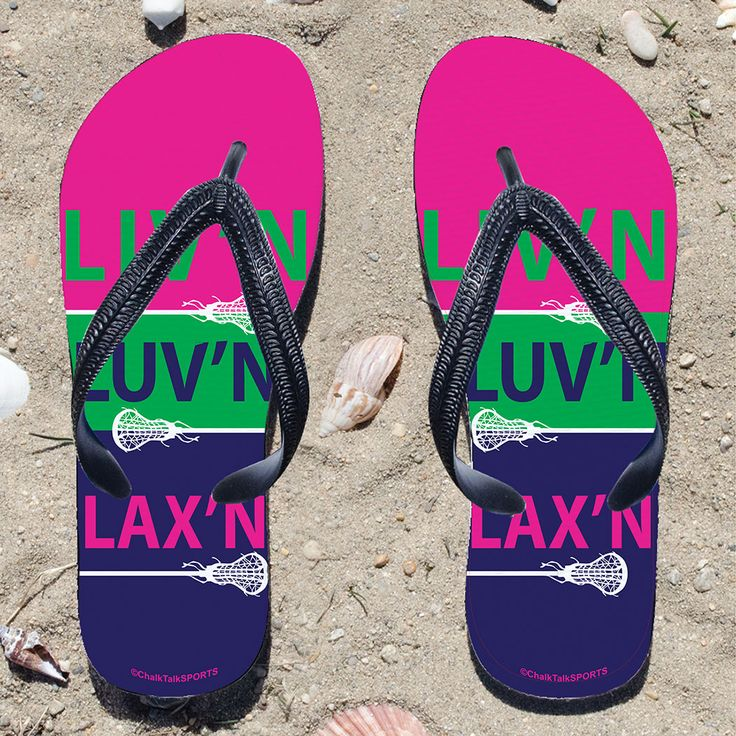 Liv'n Luv'n Lax'n Girls Flip Flops   Lacrosse Sandals   Lacrosse Gifts