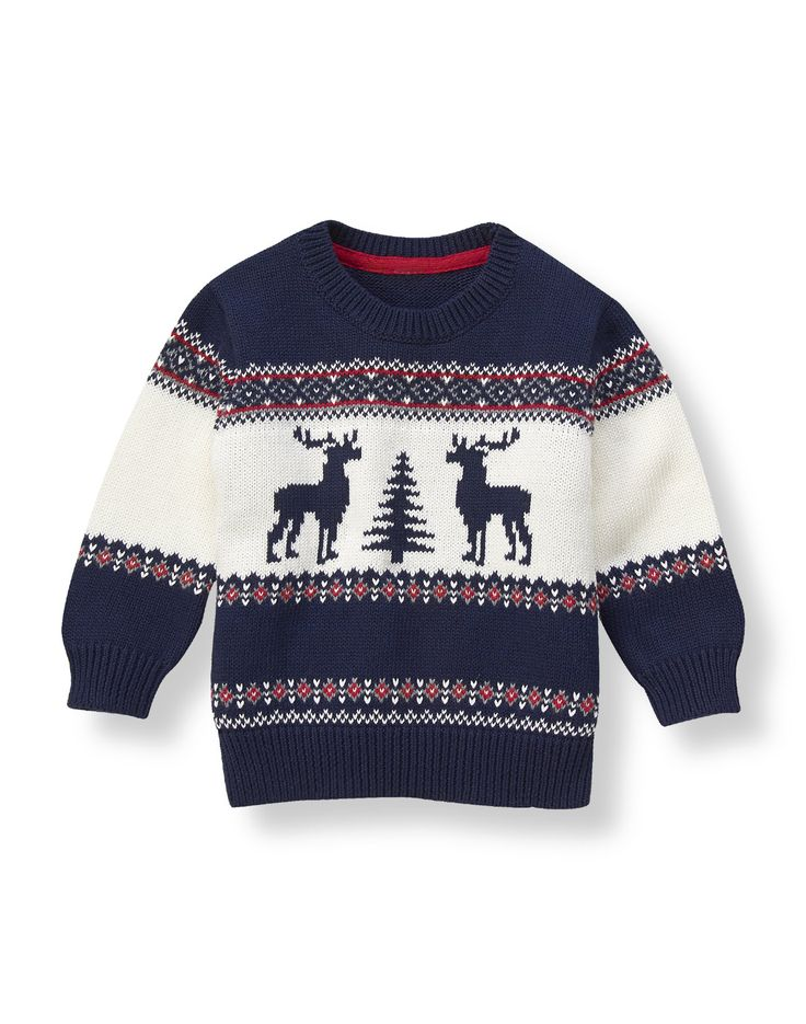 Festive reindeer, tree and Fair Isle pattern decorates our sweater in soft combed cotton.