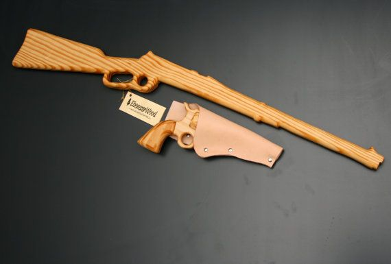 Hand made wooden western gun set with leather holster.  This was what we imagined when we used sticks as kids in make believe