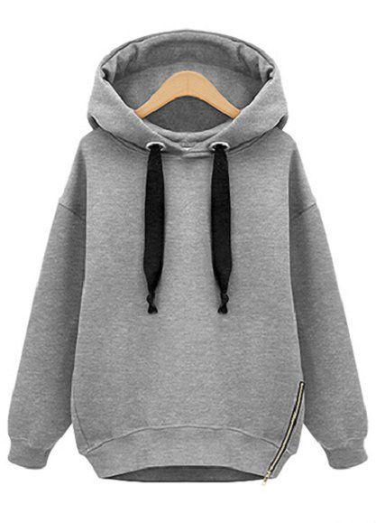 Grey Hooded Long Sleeve Drawstring Loose Sweatshirt - Sheinside.com