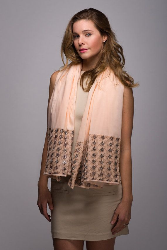 Large Peach Rectangle Scarf with Light Pink and by WICKandPoppy, $69.62 Etsy
