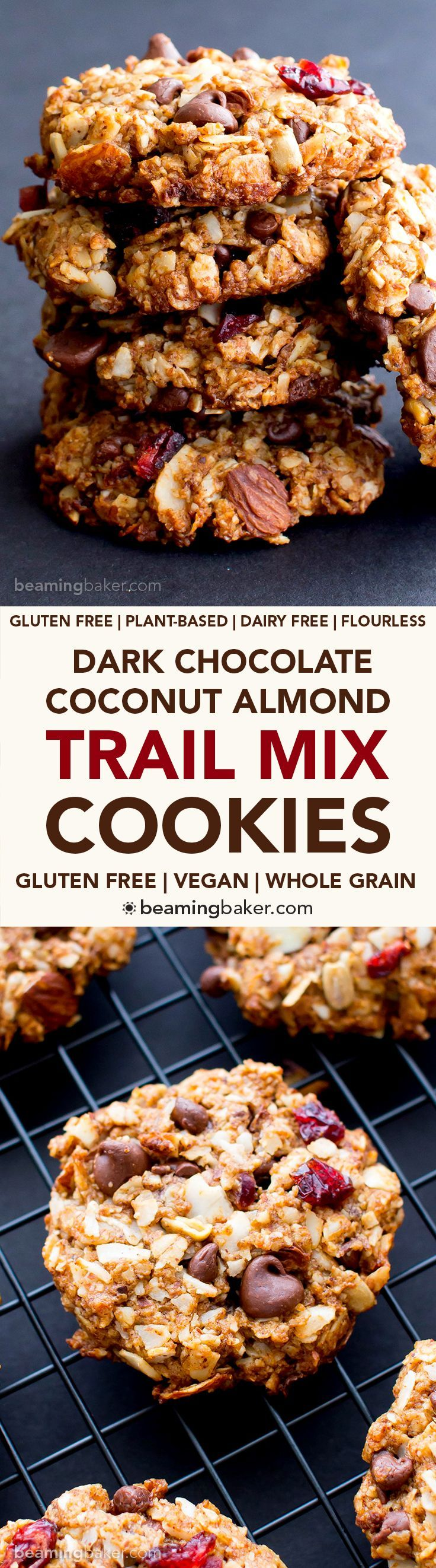 Dark Chocolate Almond Coconut Trail Mix Cookies (V, GF, DF): an easy recipe for deliciously textured chewy trail mix cookies bursting with chocolate, almond and coconut. #Vegan #GlutenFree #DairyFree | http://BeamingBaker.com