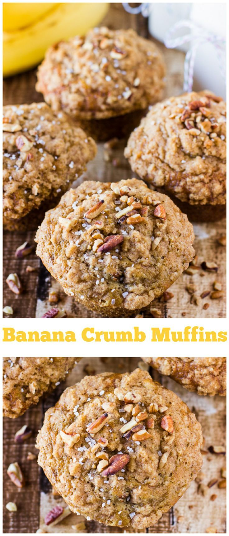 Moist and flavorful banana muffins topped with a brown sugar crumb topping that will melt in your mouth!