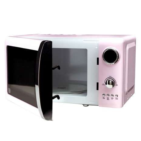 Add a splash of colour to your kitchen with this 700 watt pastel pink microwave, made in a retro style and available to purchase online today.