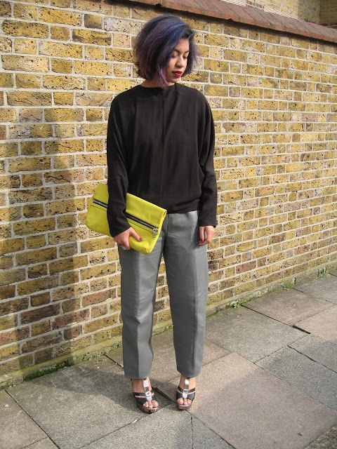 neon clutch, leather trousers, hair #outfit #streetstyle