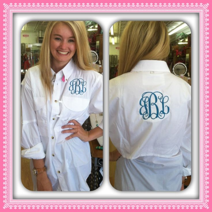 front and back monogrammed fishing shirt