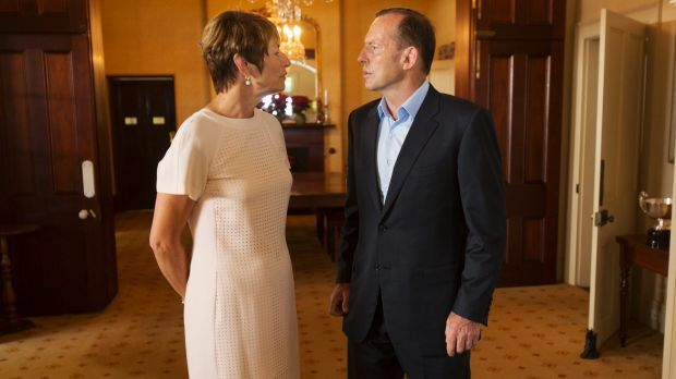 Margie and Tony Abbott in the drawing room.