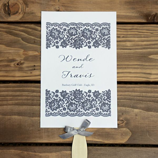 Lace Editable Wedding Program Fan
