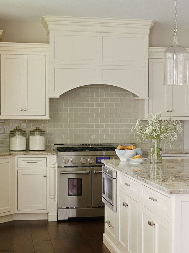 wide plank floors glazed subway backsplash simple cabinets and handles - Idea For Kitchen Cabinet