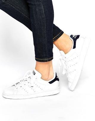 Image 1 of adidas Originals White & Indigo Stan Smith Sneakers