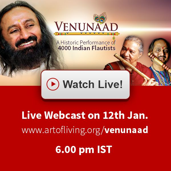 Watch VenuNaad Live! on your #desktop at your home.  VenuNaad - A historical performance of 4000 flutists likely to create world record will be shown live (Webcast) on Art of living official page http://www.artofliving.org/venunaad  for more details about event date, time and schedule visit www.SriSriinNashik.com