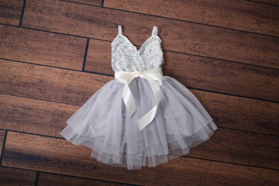 Silver Tulle Flower Girl Dress Gray sequin by NicolettesCouture