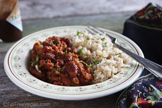 Easy Red Beans and Rice (Vegan)  I like to use dry beans and soak them overnight then throw everything into the slow cooker and cook it all day on low.  I've made this non-vegan by throwing in a ham bone before with excellent results.