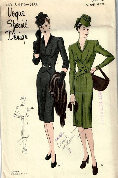 Vogue Special S-4415 | 1940s one-piece coat-dress