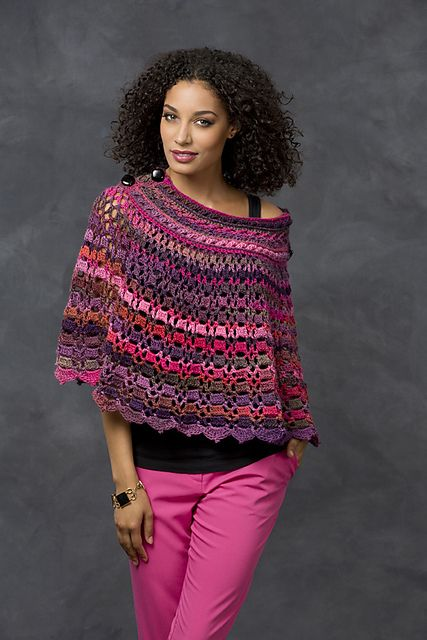 Free pattern Ravelry: Dubonnet Poncho pattern by Bonnie Barker