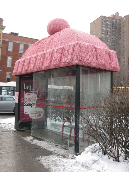 Pink winter hat bus stop - wonder where this is - I see French on the poster, anyone know?