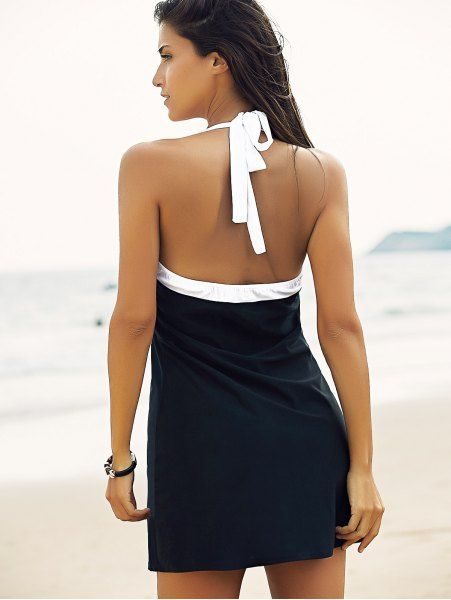 Halter One-Piece Striped Multi Convertible Way Swimwear