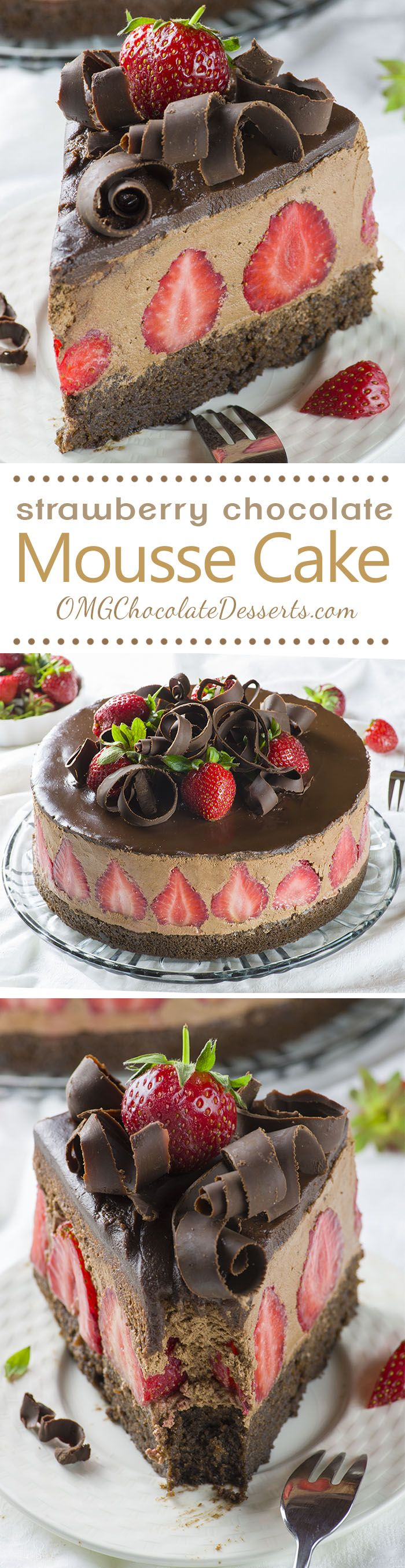 Strawberry Chocolate Cake. con base de torta de chocolate, rellena con mouse con frutillas en su interior. ierta con ganache y virutas de chocolate. HACER.