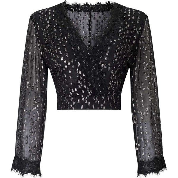 Miss Selfridge Black Silver Lurex Wrap Top (410 SEK) ❤ liked on Polyvore featuring tops, assorted, metallic top, holiday party tops, miss selfridge, going out tops and lurex top