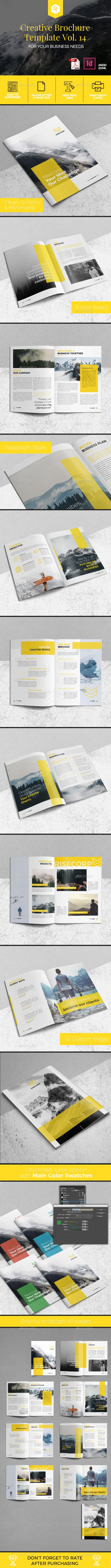 Creative Brochure Template Vol. 14 - #Corporate #Brochures Download here: https://graphicriver.net/item/creative-brochure-template-vol-14/19979736?ref=alena994
