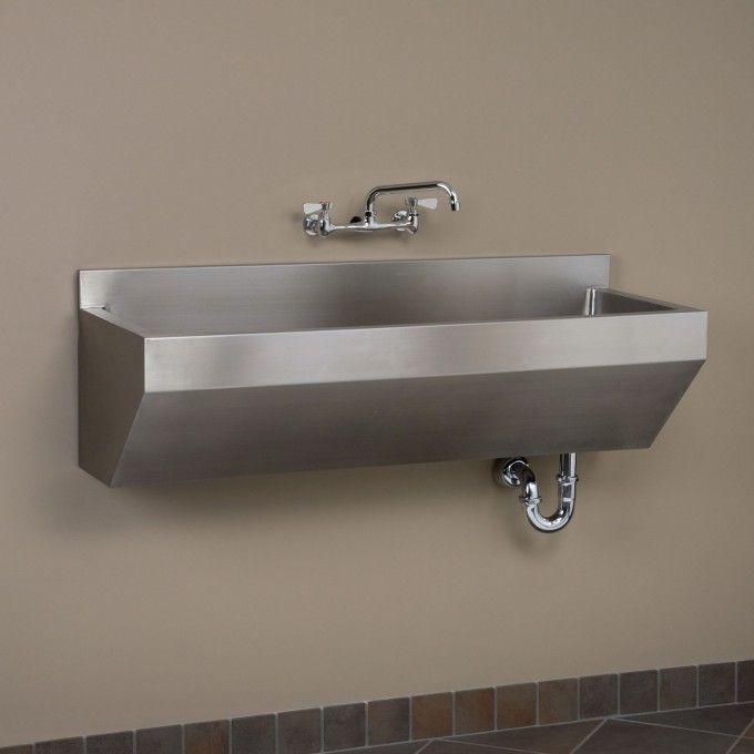 """47"""" Stainless Steel Wall-Mount Commercial Sink - Angled Front"""
