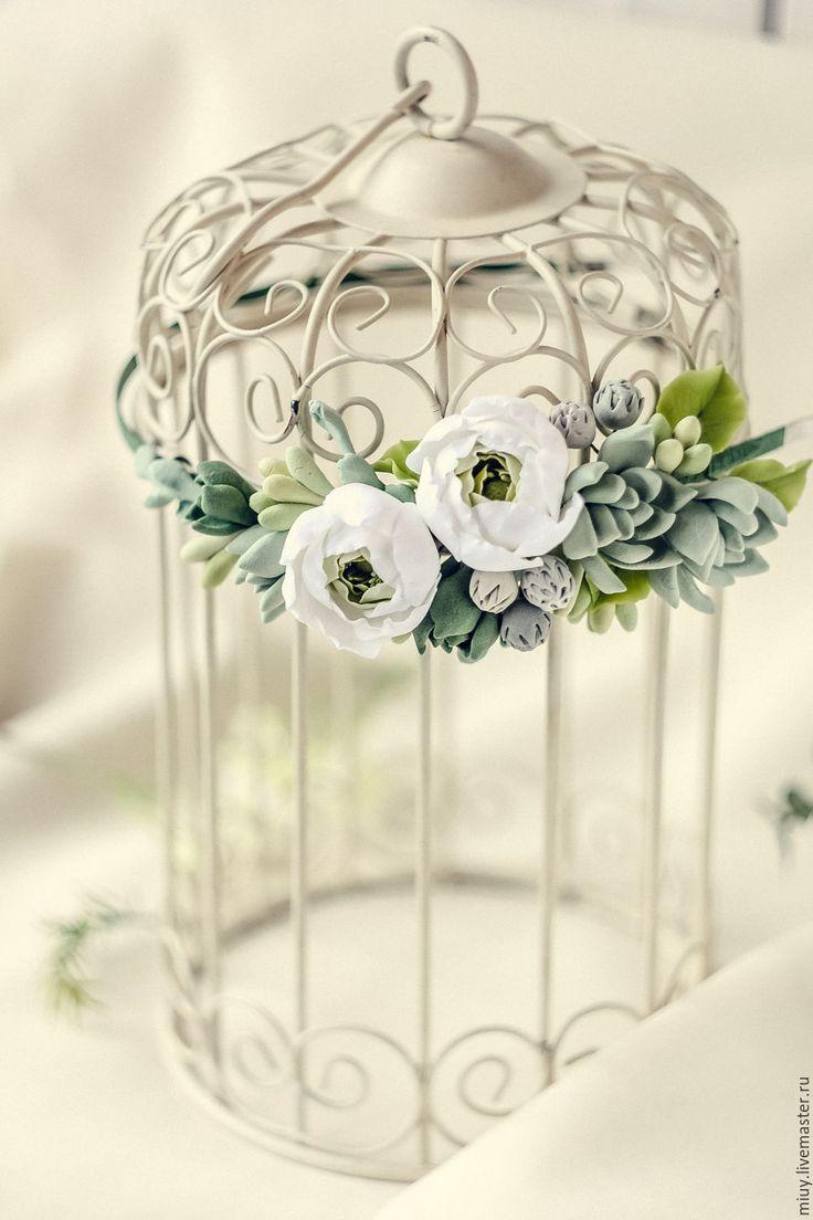 """Купить Обруч для волос """" Sukkulove"""" - разноцветный, белые цветы, зеленый, суккуленты, украшение с суккулентами"""