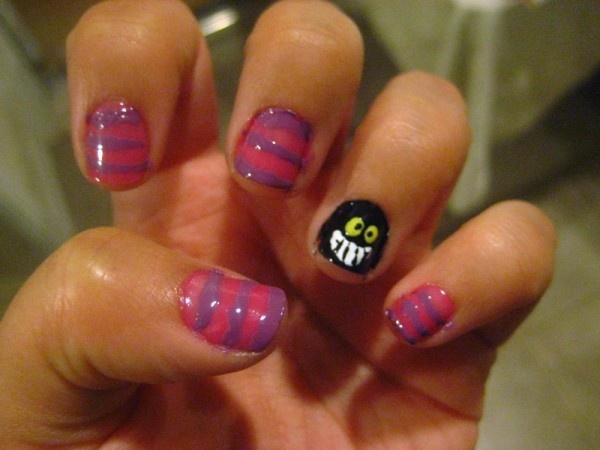 Chesire Cat Nails: Cheshire Cat, Nails Design, Fun Fingernail, Alice In Wonderland, Wonderland Nails, Alice Nails, Cat Nails, Chesir Cat, Cute Halloween Nails
