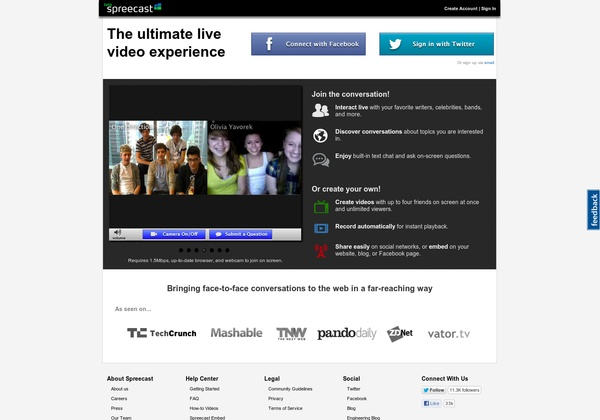 Spreecast - videoconference and live video stream with Spreecast (up to 4 people or more)