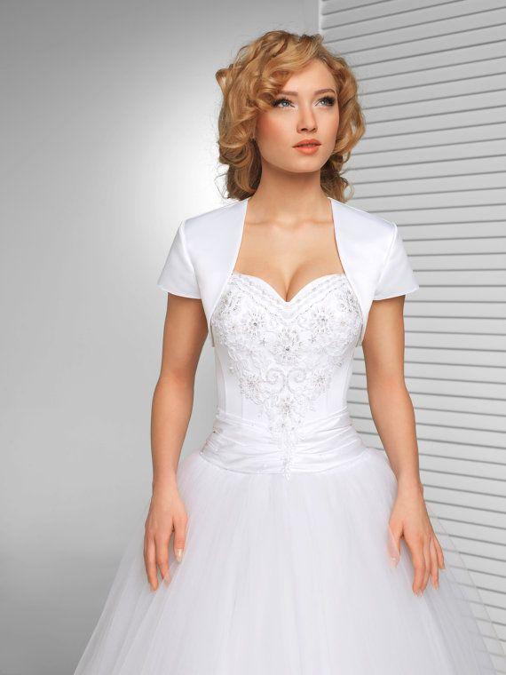 Eenvoudige korte mouwen satijn Bridal Jacket | Eenvoudige Bolero in wit, ivoor en zwart