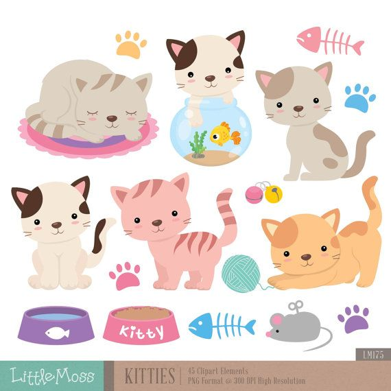 Kitties Digital Clipart Cat Clipart by LittleMoss on Etsy