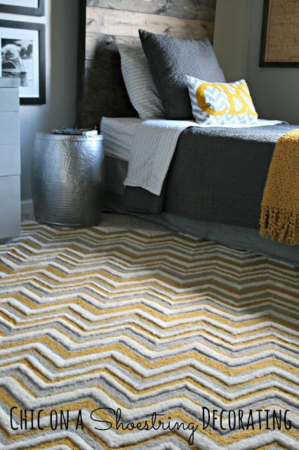 Gray & Yellow Chevron Rug, Bigger Boy Room Reveal by Chic on a Shoestring Decorating