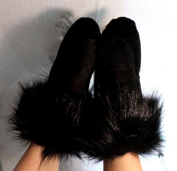 Black Suede Mittens With Soft Black Faux Fake Fur, Low Loft Insulation, Fleece Lined, Extreme Cold Weather Accessory, winter mittens, gloves,  three layer warmth, extra war...
