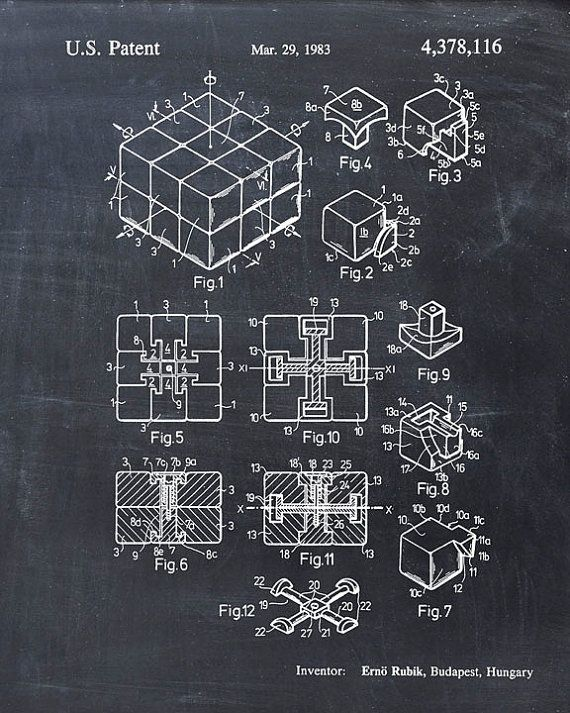This is a print of the patent drawing for the Rubiks Cube patent in 1983. The original patent has been cleaned up and enhanced to create an