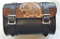 Brown and black leather motorcycle tool bag that is USA made with embossed eagle on the front