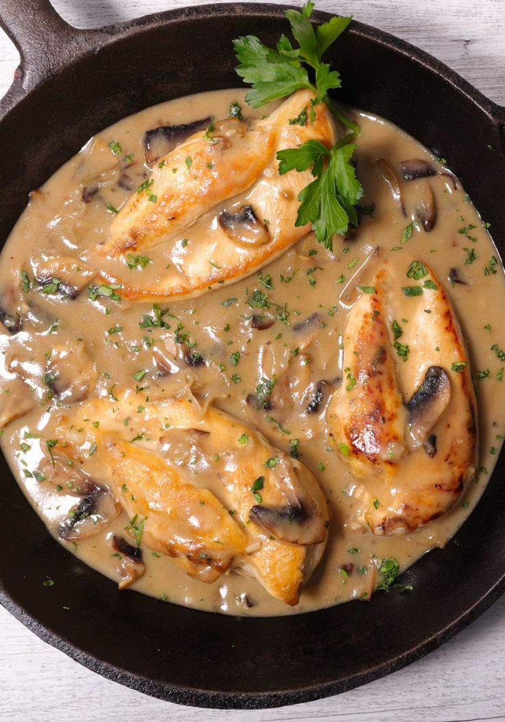 """Chicken, cream, and mushrooms occur again and again, as it is one of the great combinations... The chicken is roasted, then carved, flamed in cognac, and allowed to steep for several minutes with cream, mushrooms, and port wine. It is the kind of dish to do when you are entertaining a few good, food-loving friends whom you can receive in your kitchen."" — Julia Child"