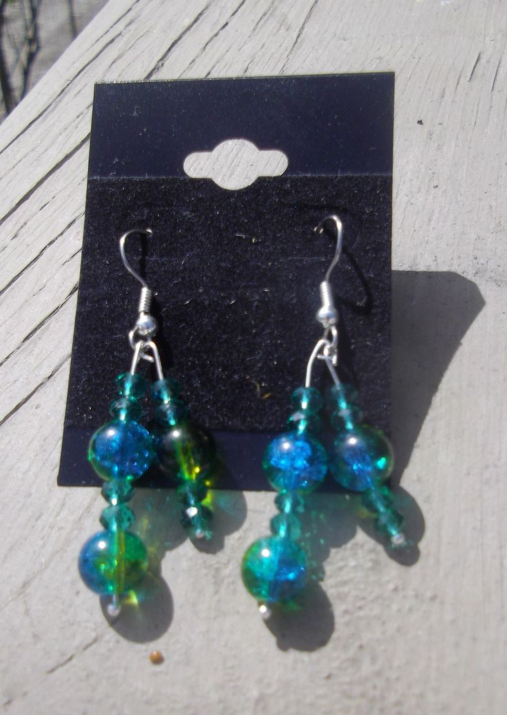 """2.5"""" Turquoise & Green with Crystals Dangle Earrings"""