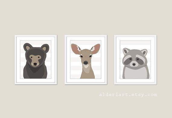 Woodland Animals Bear Deer Racoon Nursery Wall Art by AldariArt, $30.00