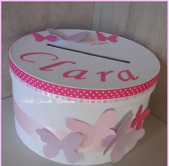 Urne baptême personnalisée - thème papillons rose bonbon - parme