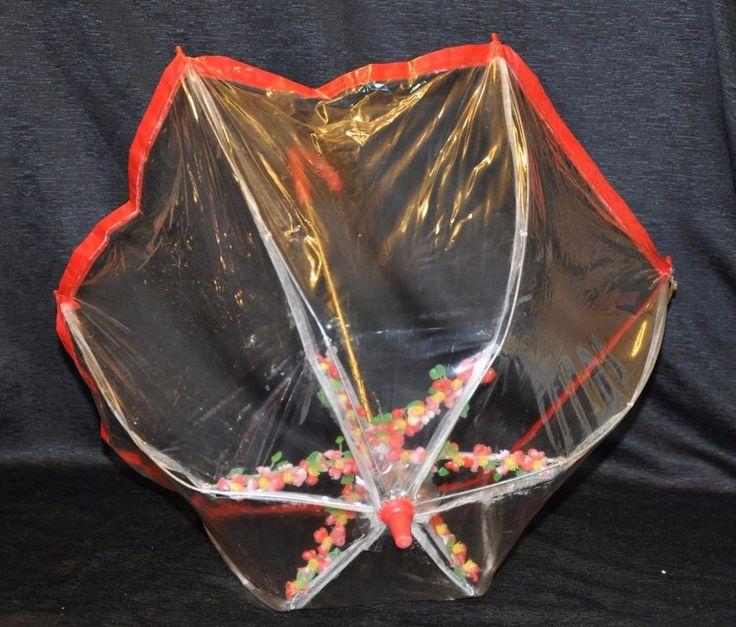 VINTAGE VINYL Clear & Red Plastic KIDS CHILDRENS UMBRELLA Plastic Flowers Inside #Unbranded