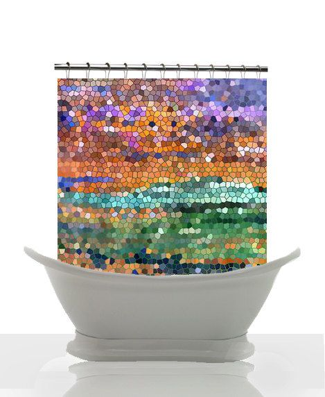 Abstract colorful shower curtain egyptian royalty for Purple mosaic bathroom accessories