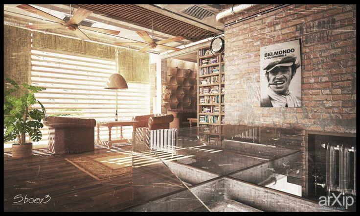 Ресторан в стиле Loft: интерьер, лофт, open space, ресторан, кафе, бар, стена, 50 - 80 м2 #interiordesign #loft #openspace #restaurant #cafeandbar #wall #50_80m2 arXip.com