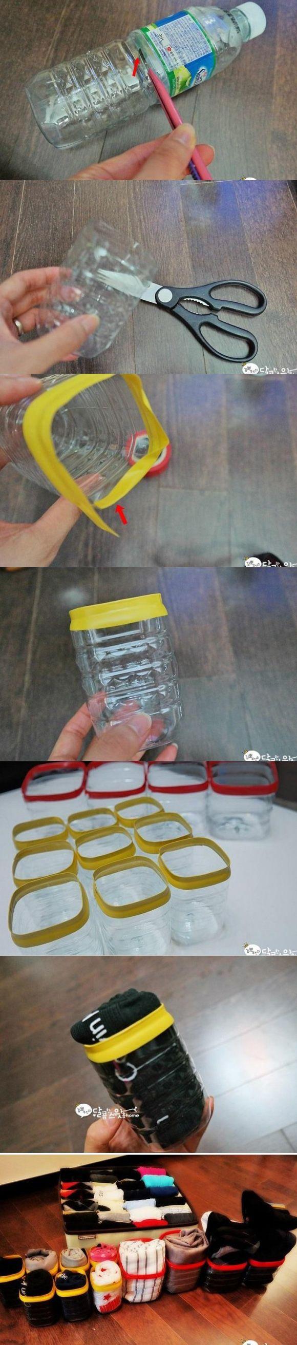 Organizadores reciclando botellas de plástico