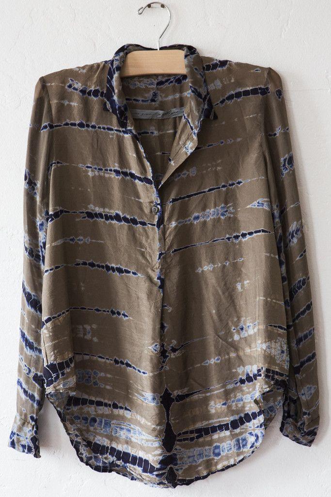 raquel allegra - olive tie dye print blouse
