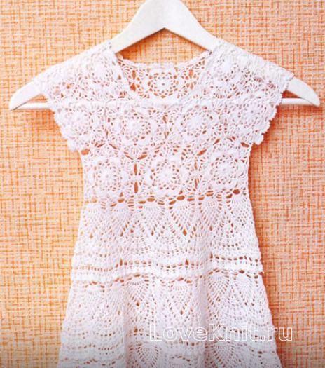 Схема вязание крючком модели со схемами детское платье без рукавов с ажурным узором