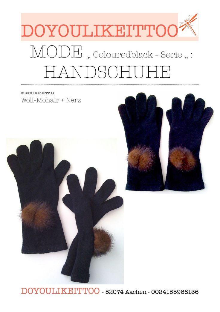 Handschuhe Damen Gr.S/M schwarz Angora-Wolle + Nerz-Ponpons in Kleidung & Accessoires, Damen-Accessoires, Handschuhe & Fäustlinge | eBay